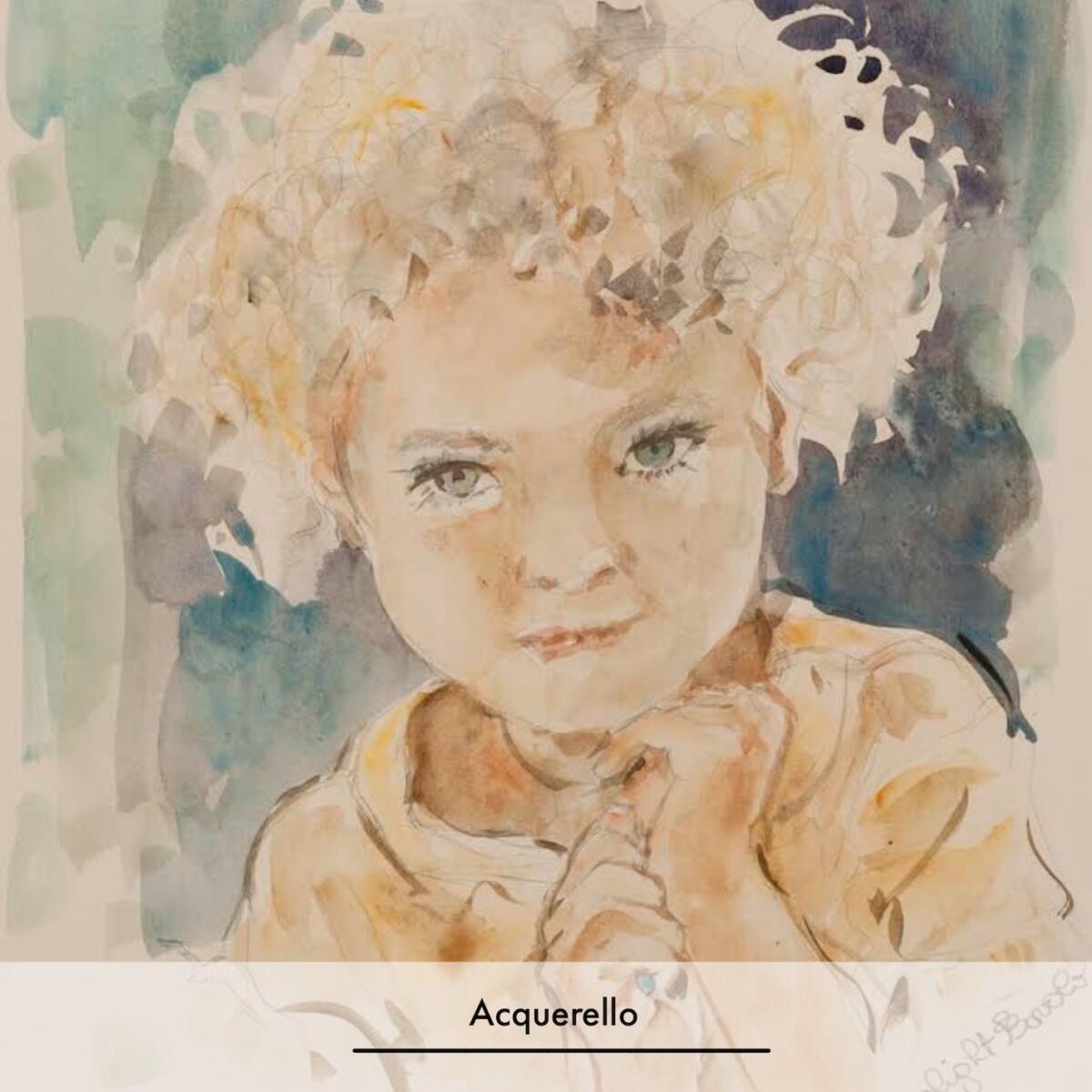 ritratti su commissione-acquerello-bambina